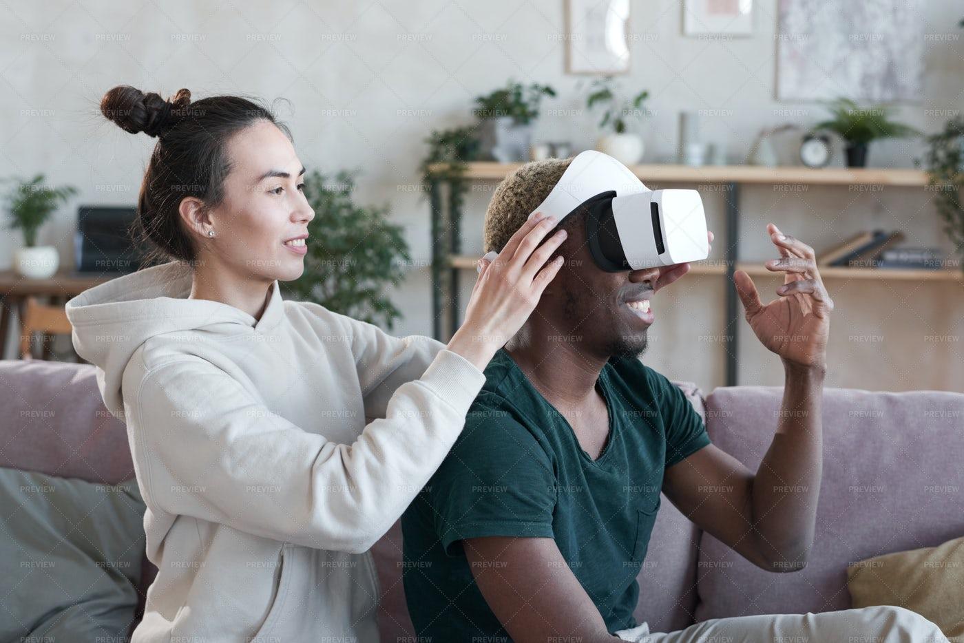 Man Trying Virtual Reality At Home: Stock Photos