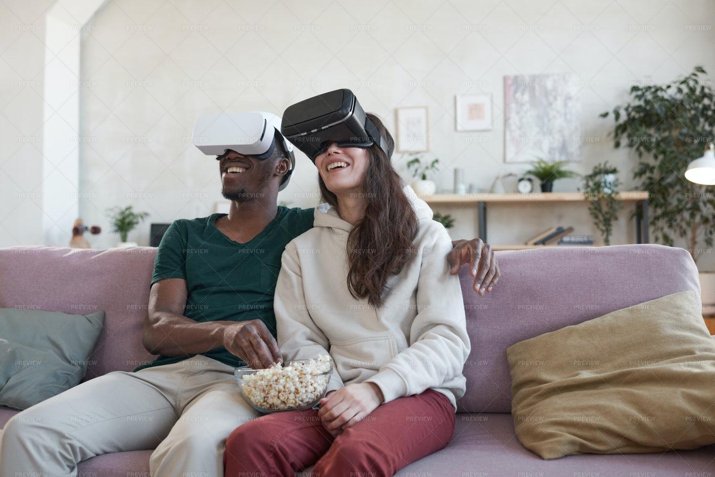 Couple Watching Movie With Popcorn: Stock Photos