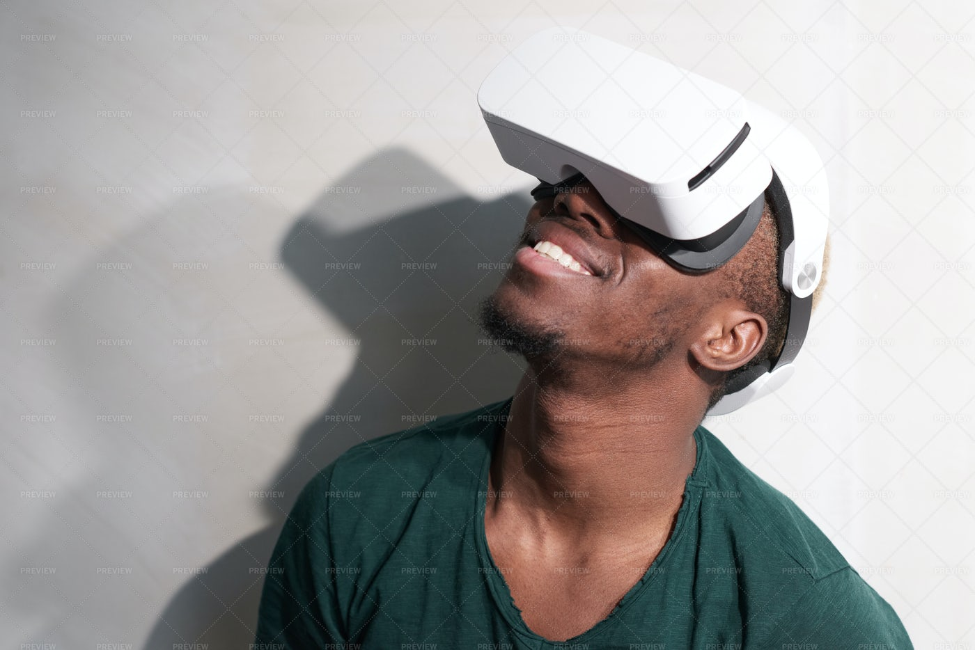 Smiling Man In VR Headset: Stock Photos