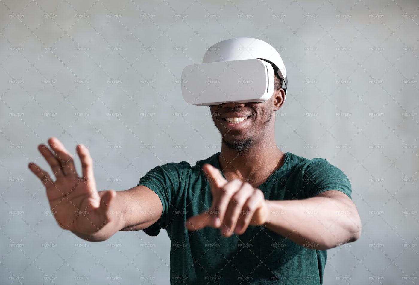Portrait Of Young Man In Vr Headset: Stock Photos