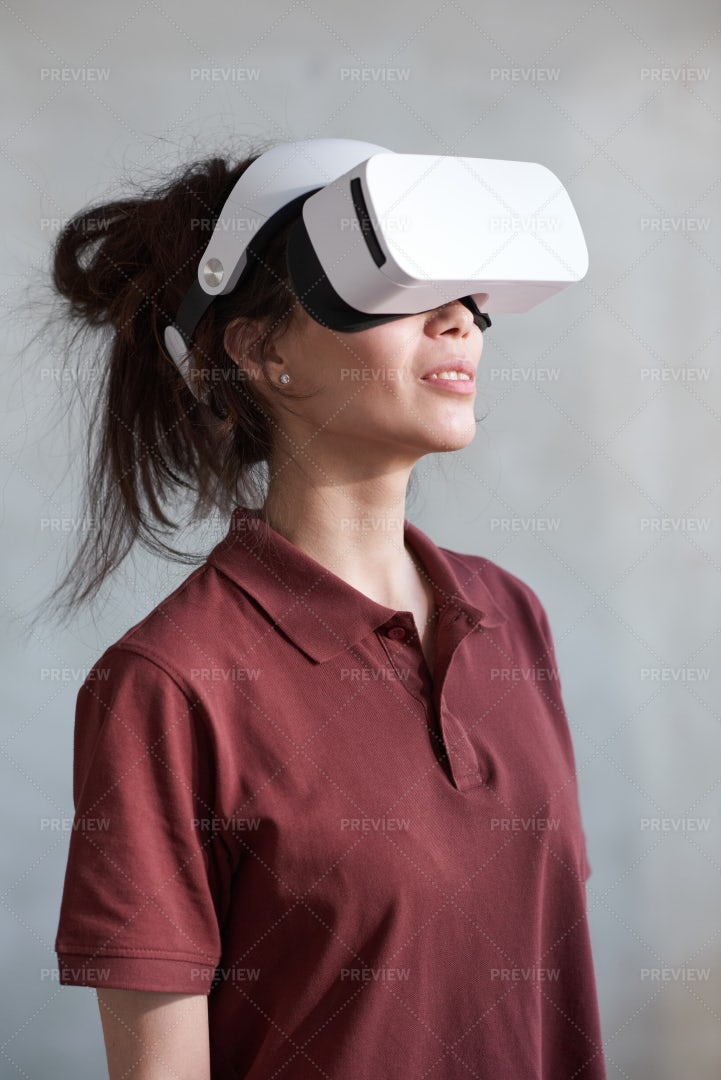 Woman In 3D Glasses Playing Game: Stock Photos