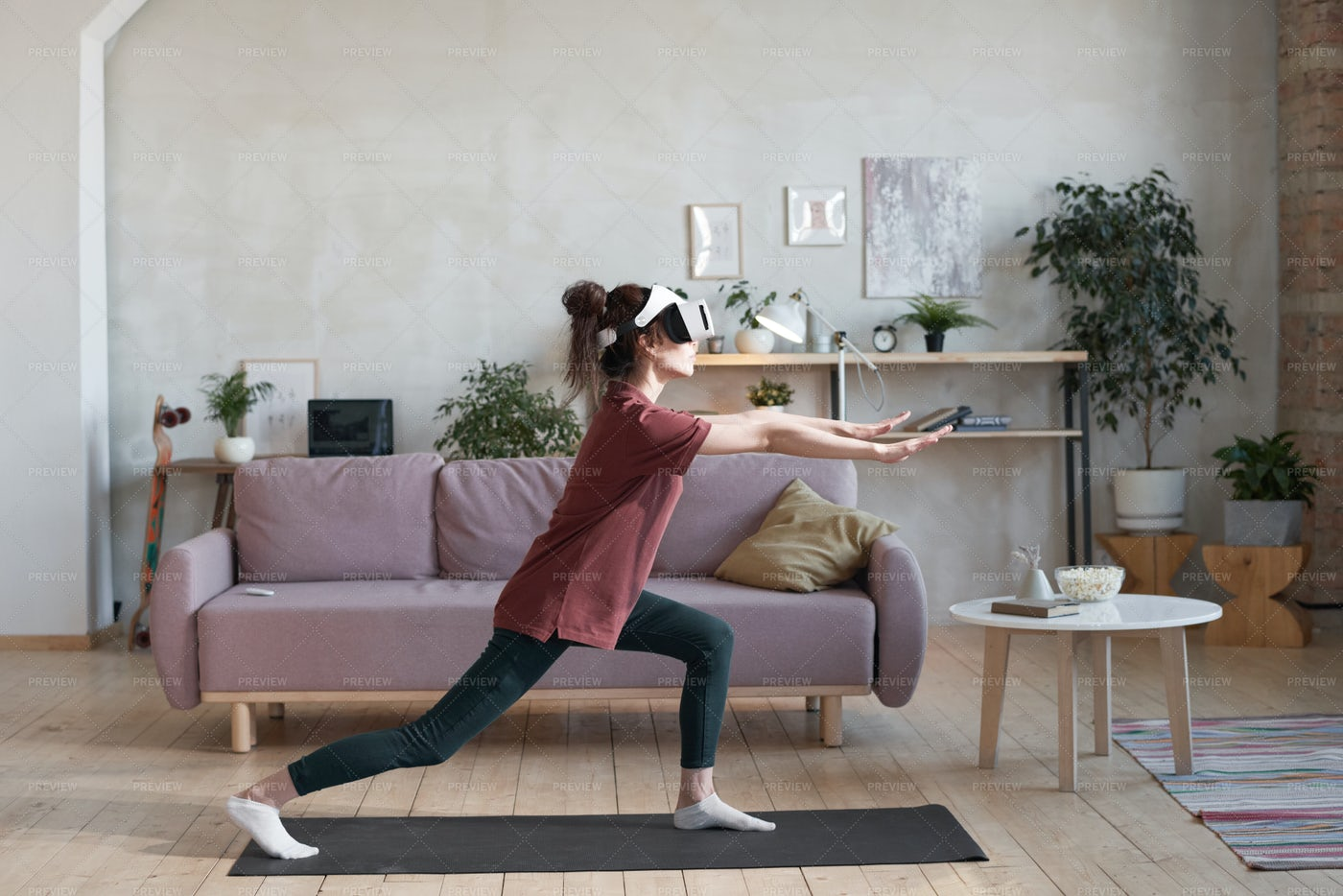 Woman Training Online At Home: Stock Photos