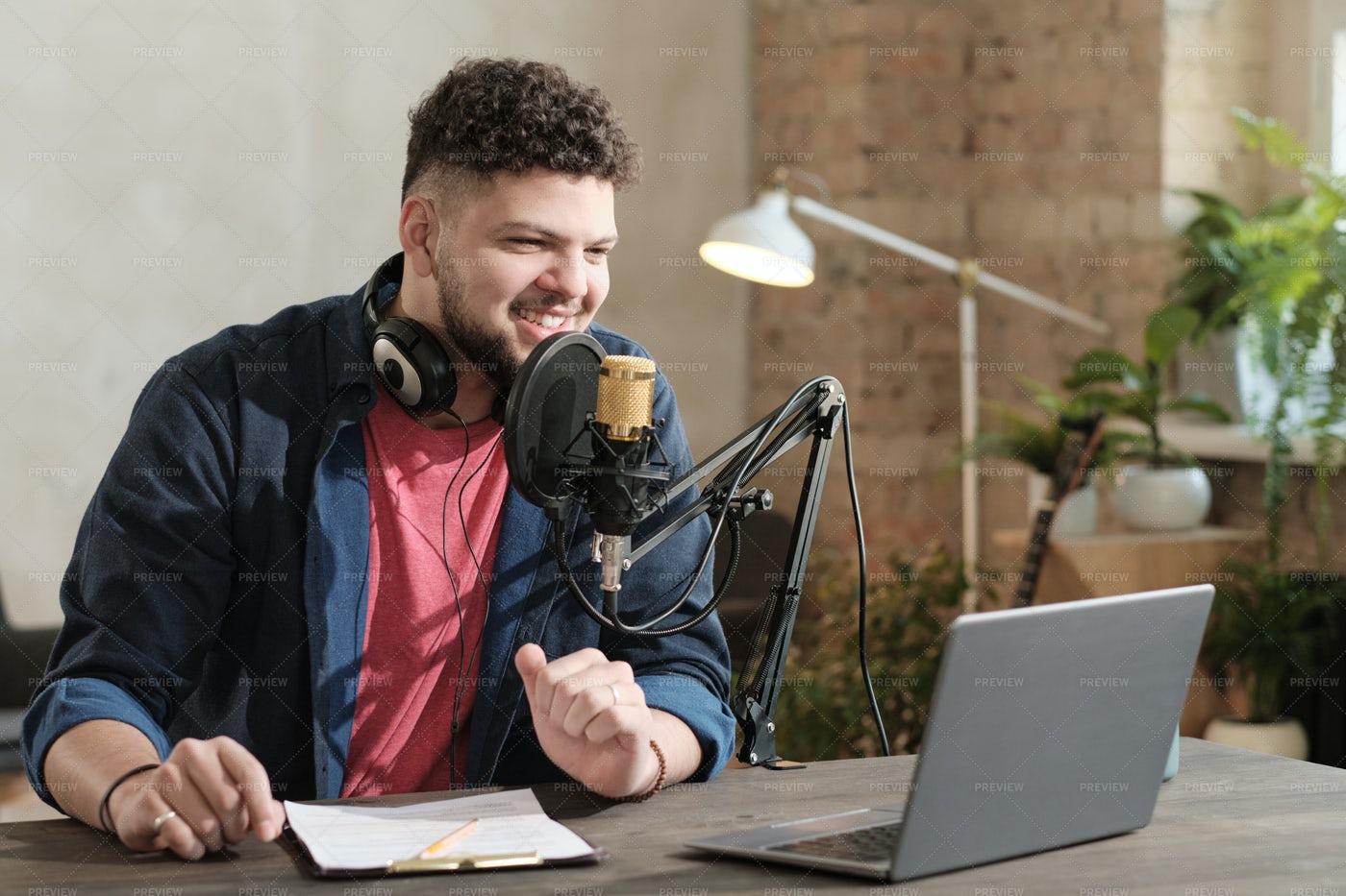 Radio Host Broadcasting: Stock Photos