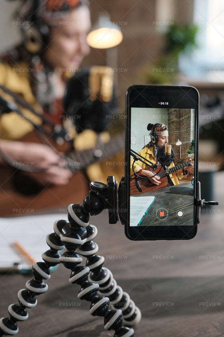 Reccording Content On Mobile Phone: Stock Photos