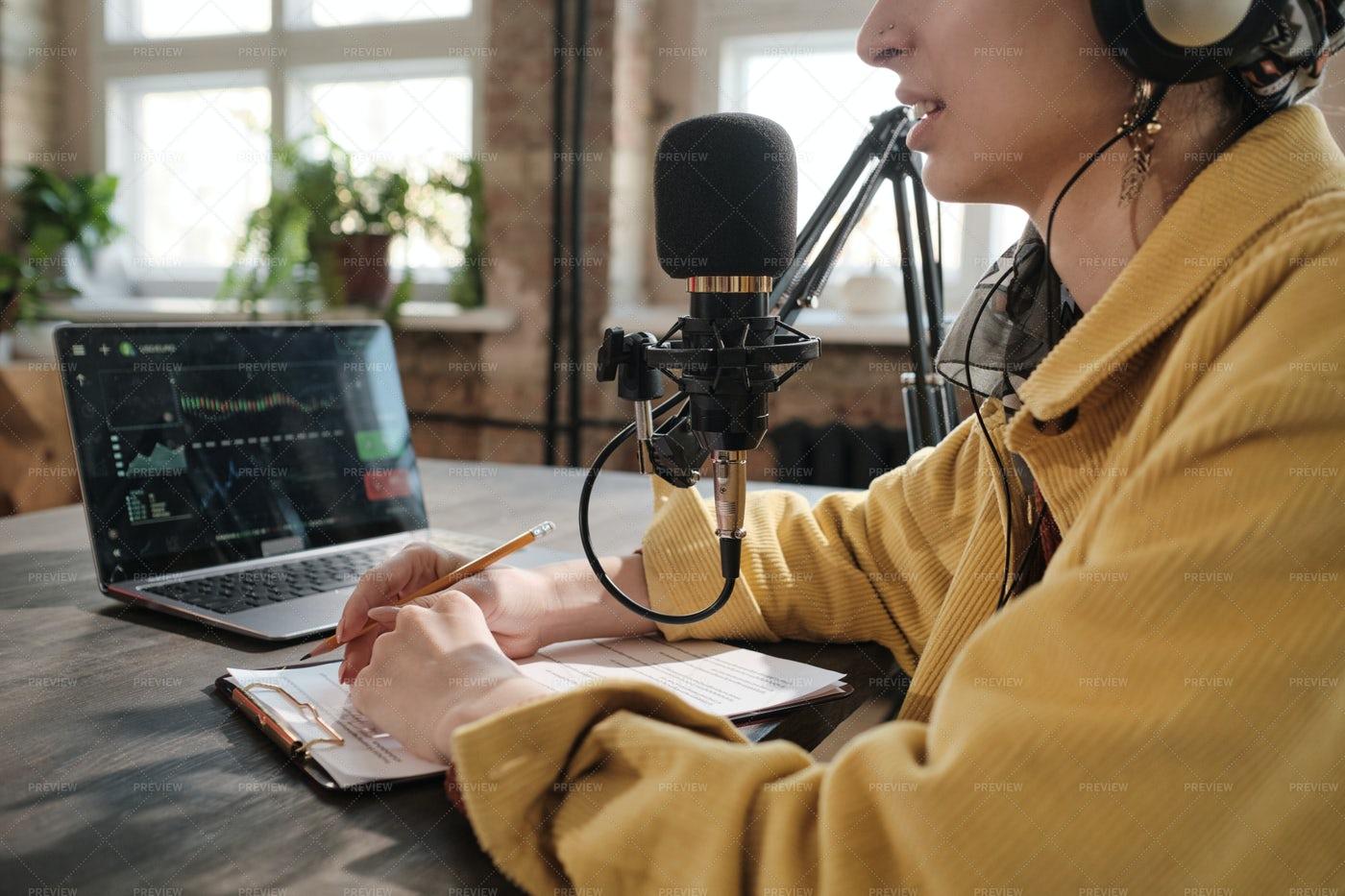 Radio Host Working In Radio Studio: Stock Photos