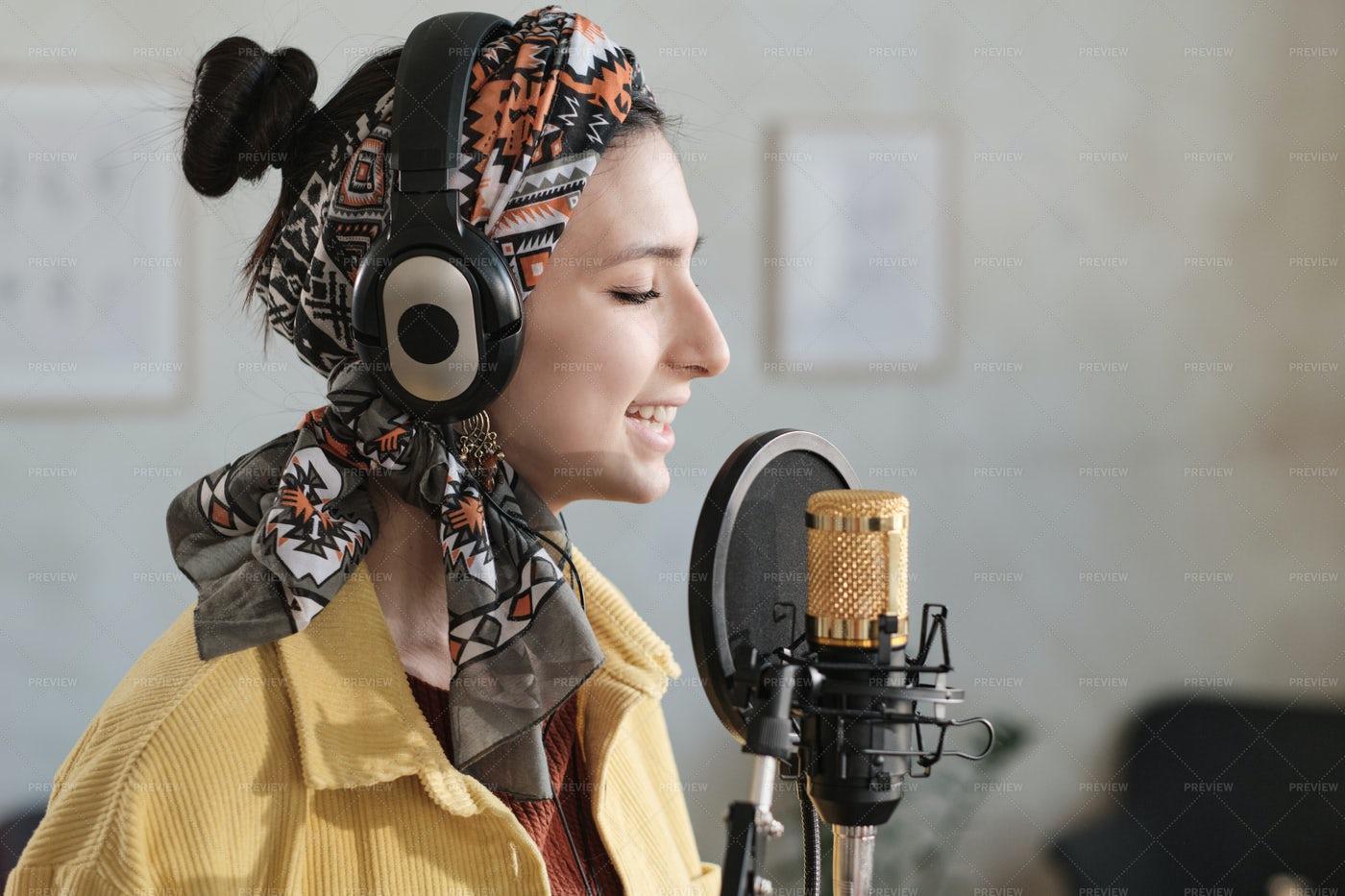Woman Singing A Song: Stock Photos