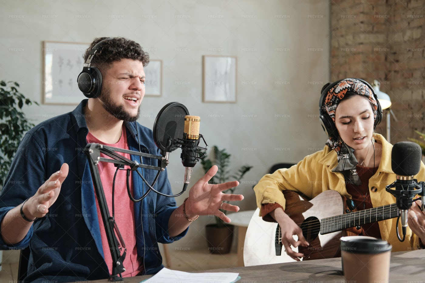 Singing In Radio Station: Stock Photos