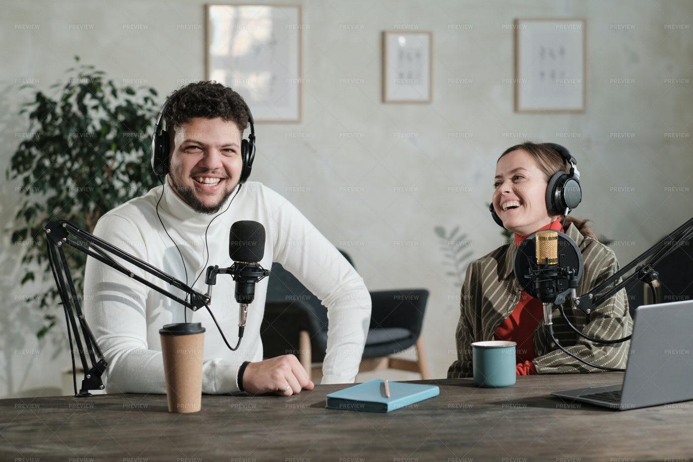 Radio Broadcasters Having Fun: Stock Photos