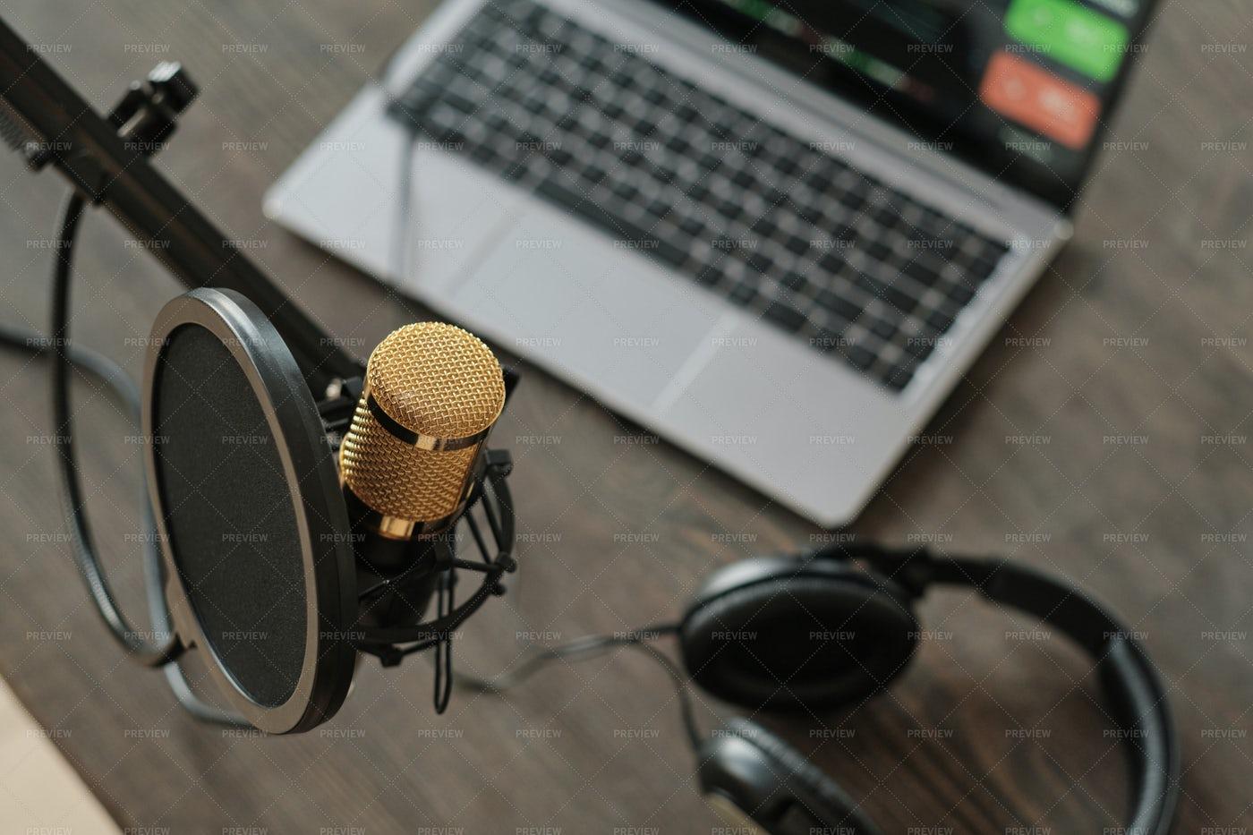 Microphone In Recording Studio: Stock Photos
