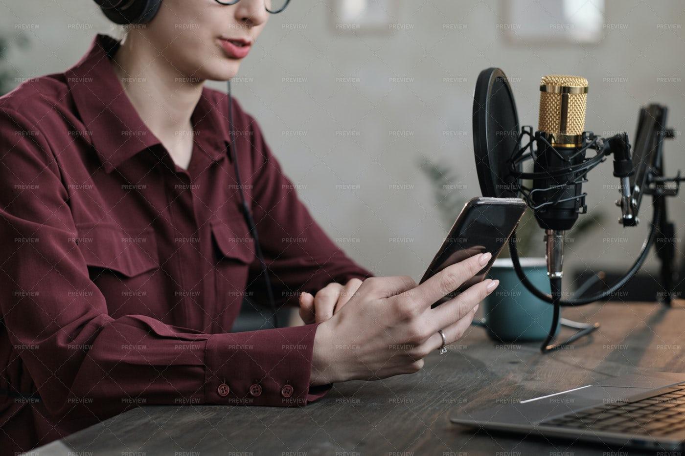 Woman Recording Podcast: Stock Photos