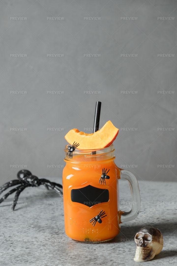 Halloween Pumpkin Beverage: Stock Photos