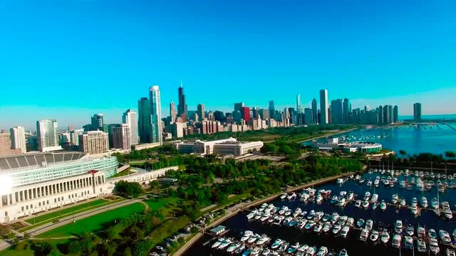 Aerial Shot Of Chicago Harbor: Stock Video
