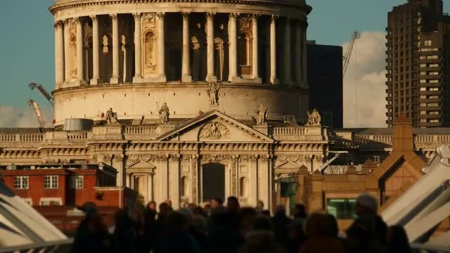 Crowds Walking Past St Paul's Cathedral, London: Stock Video