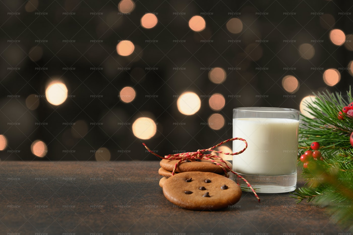 Cookies And Milk For Santa: Stock Photos