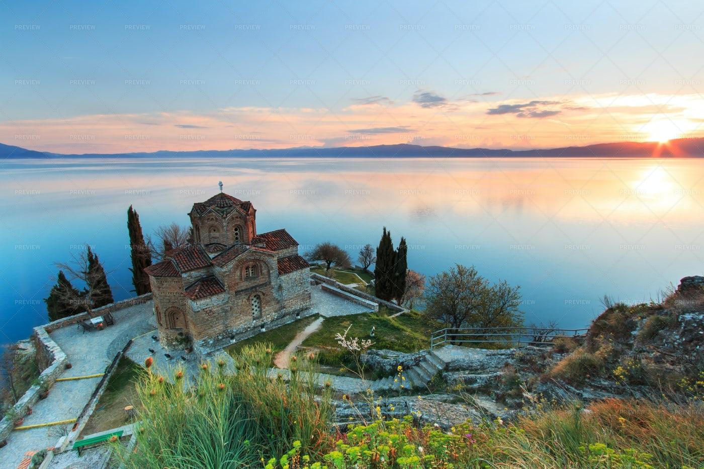 Sunset Over Lake Ohrid: Stock Photos