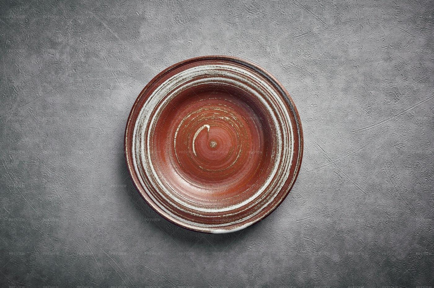 Blank Ceramic Brown Plate: Stock Photos