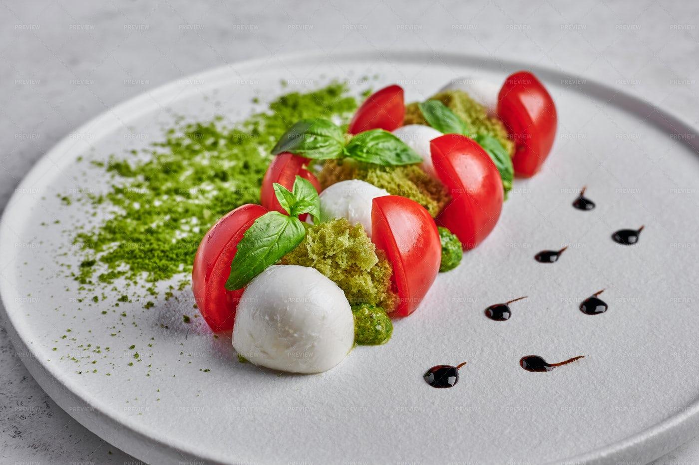 Caprese Salad Close-Up: Stock Photos