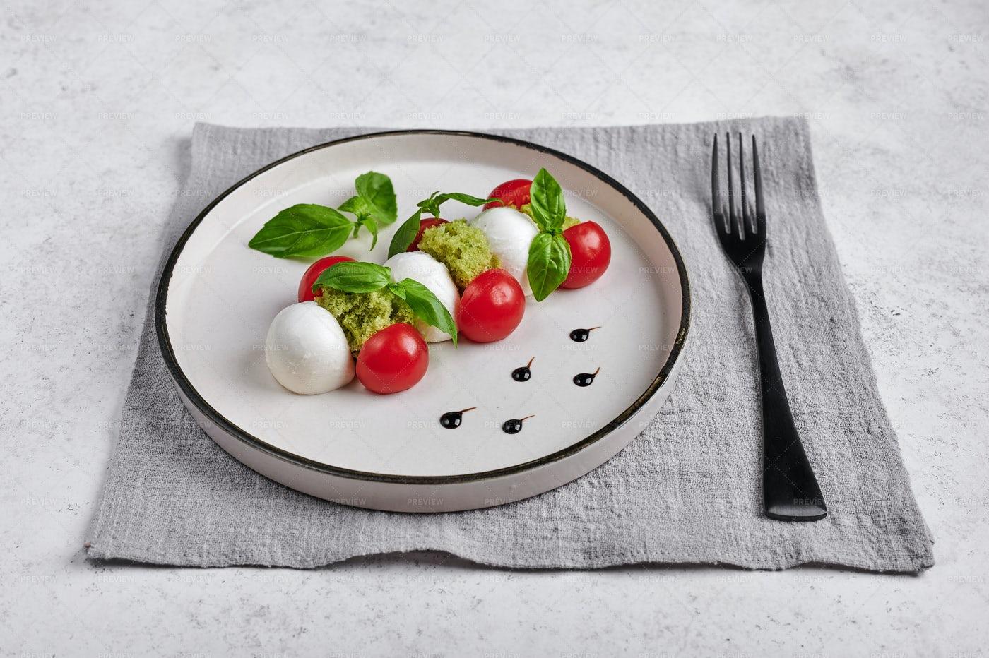 Caprese Salad And A Fork: Stock Photos