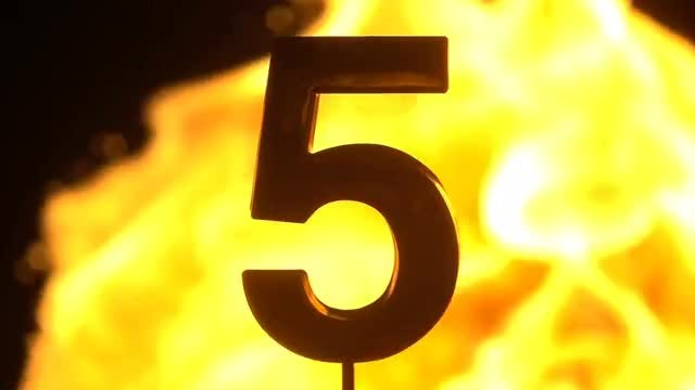 Numbers Covered By Yellow Flames: Stock Video