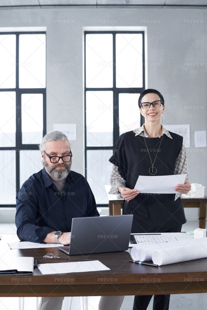 Experienced Architects Working Together: Stock Photos