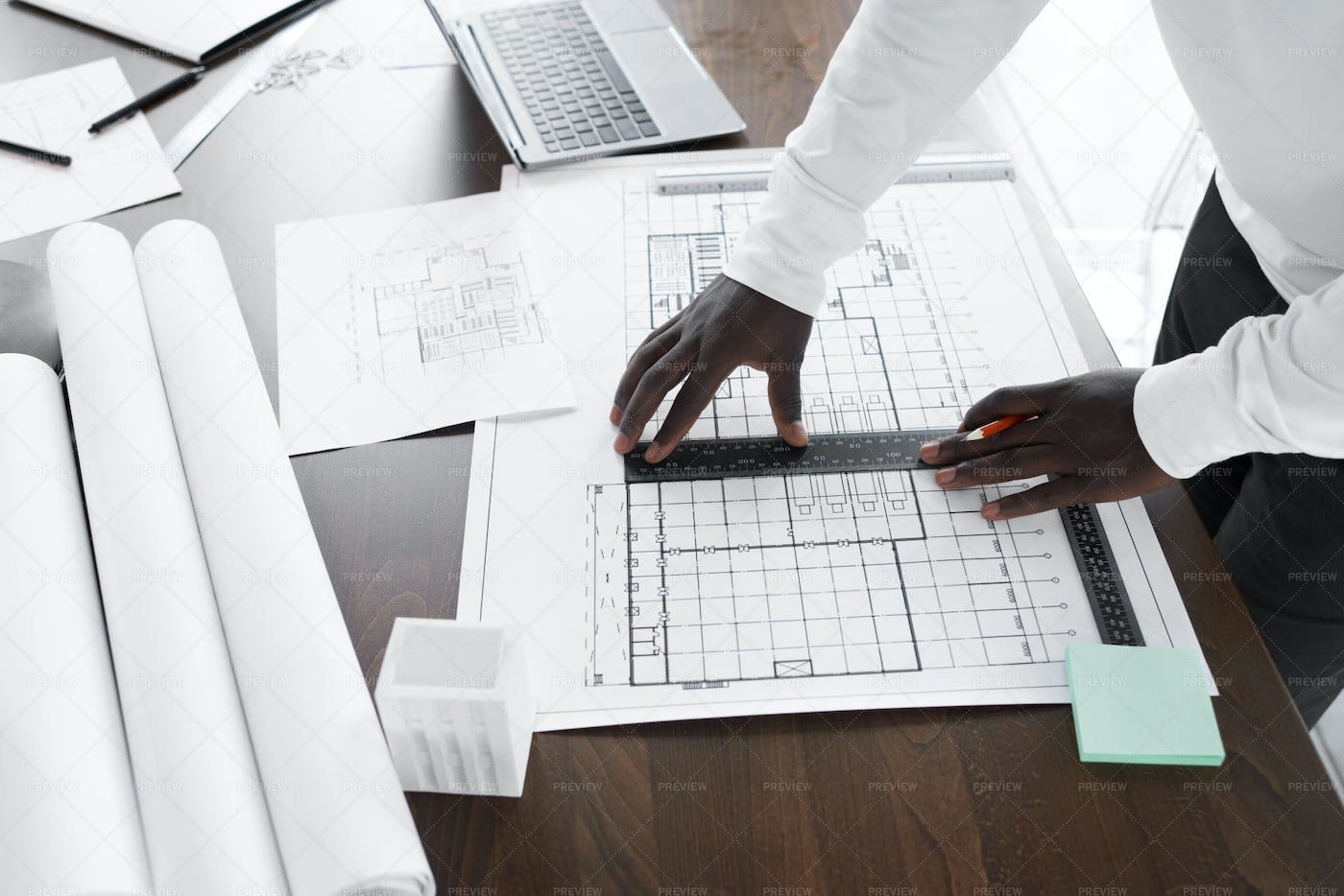 Drawing A Model Of New Building: Stock Photos