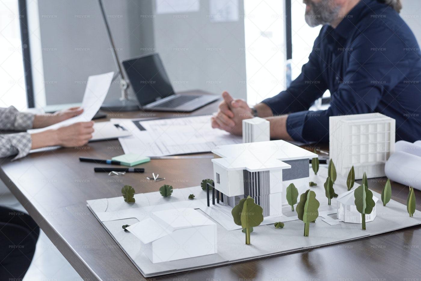 Model Of New Modern Building: Stock Photos