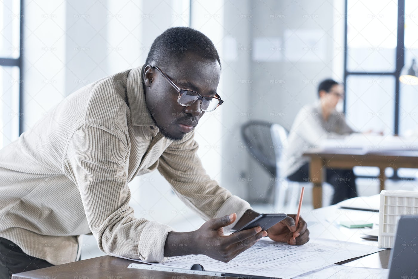 Architect Busy With His Work: Stock Photos