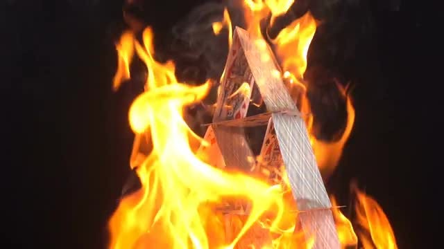 House Of Cards In Flames: Stock Video