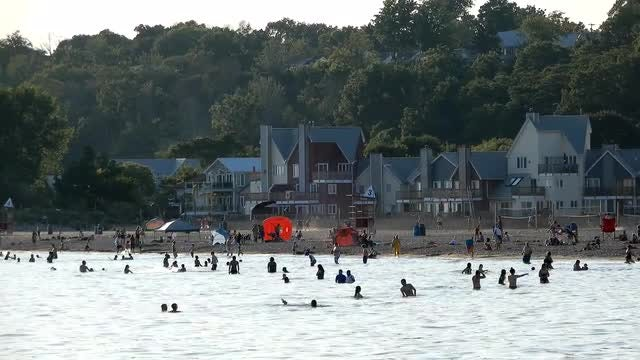 People Swimming Near The Beach : Stock Video