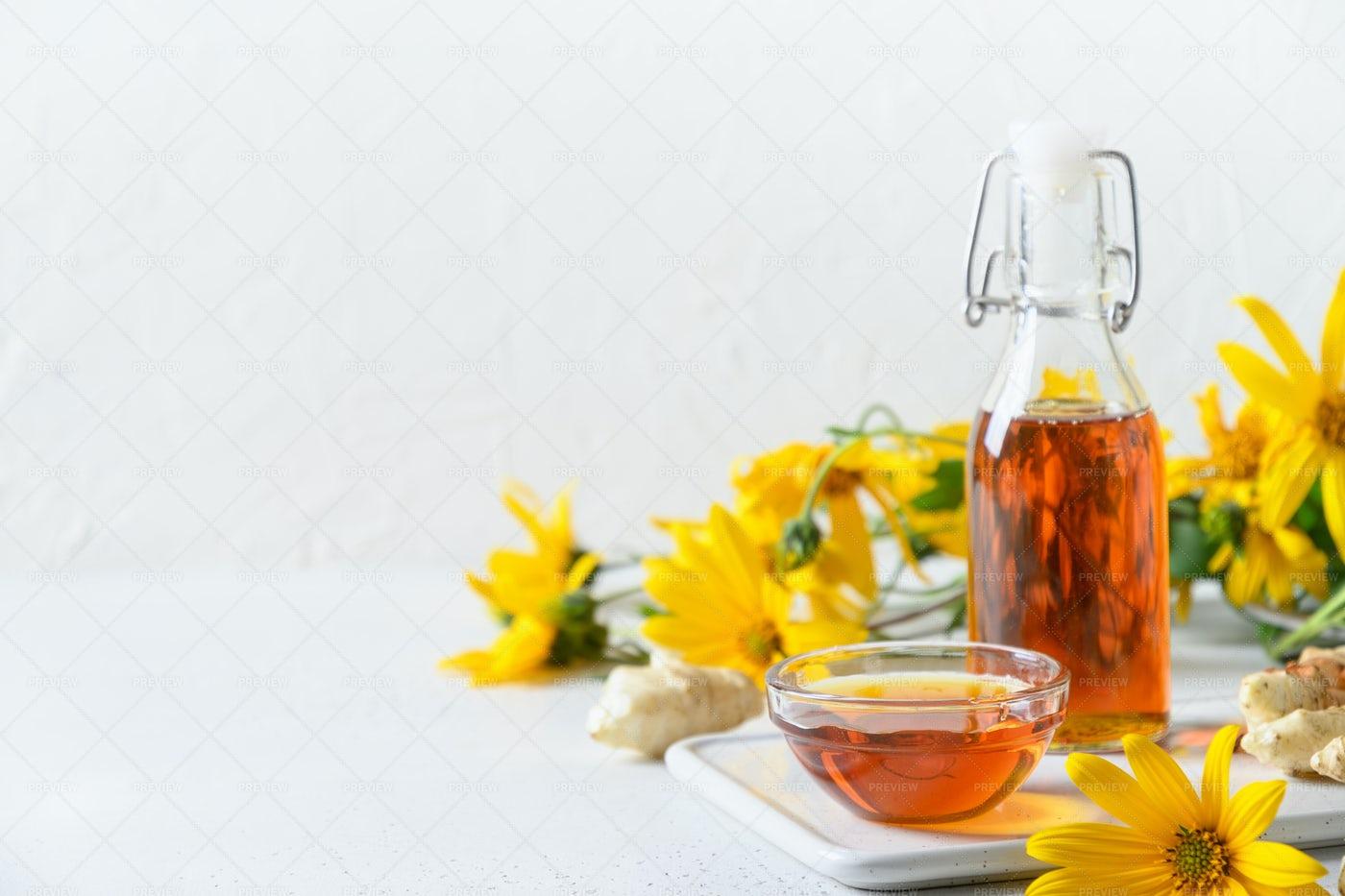 Artichoke Syrup In Bottle: Stock Photos