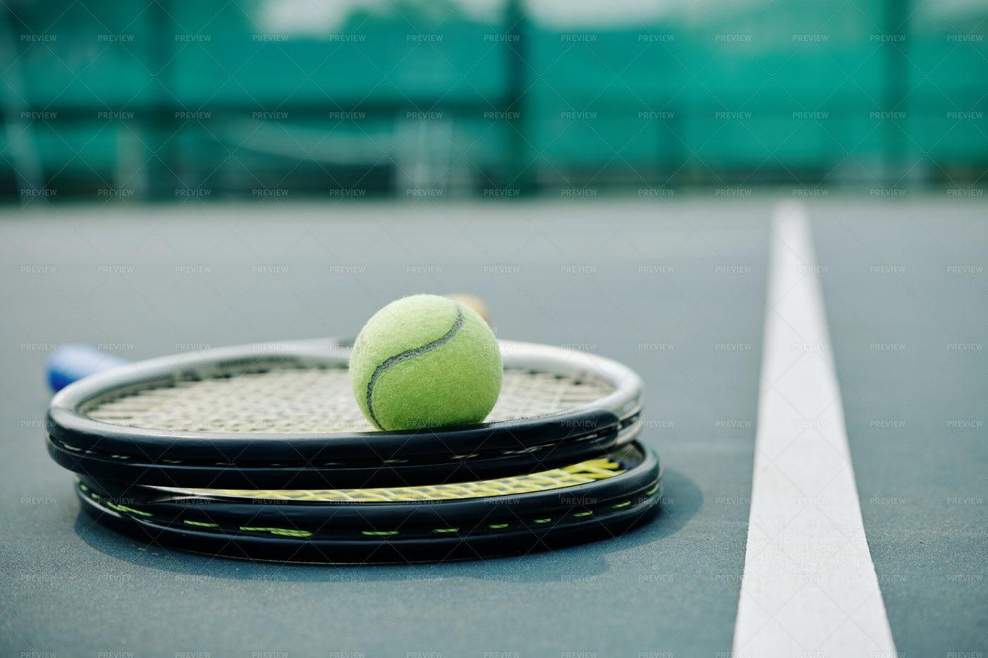 Racket And Tennis Ball: Stock Photos