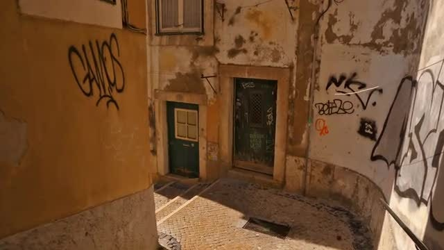 Walking Through Old Portuguese Streets: Stock Video