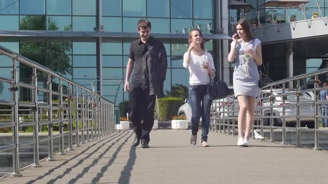 Young People On Footbridge: Stock Video