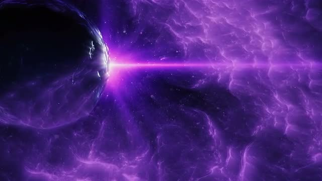 Planet In Purple Space Nebula: Stock Motion Graphics