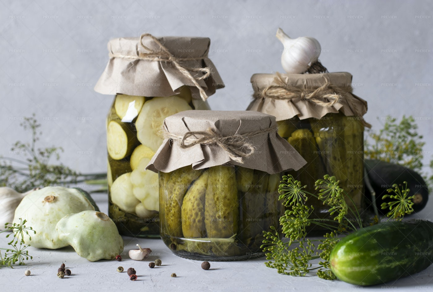 Pickled Cucumbers, Patisson And Zucchini: Stock Photos