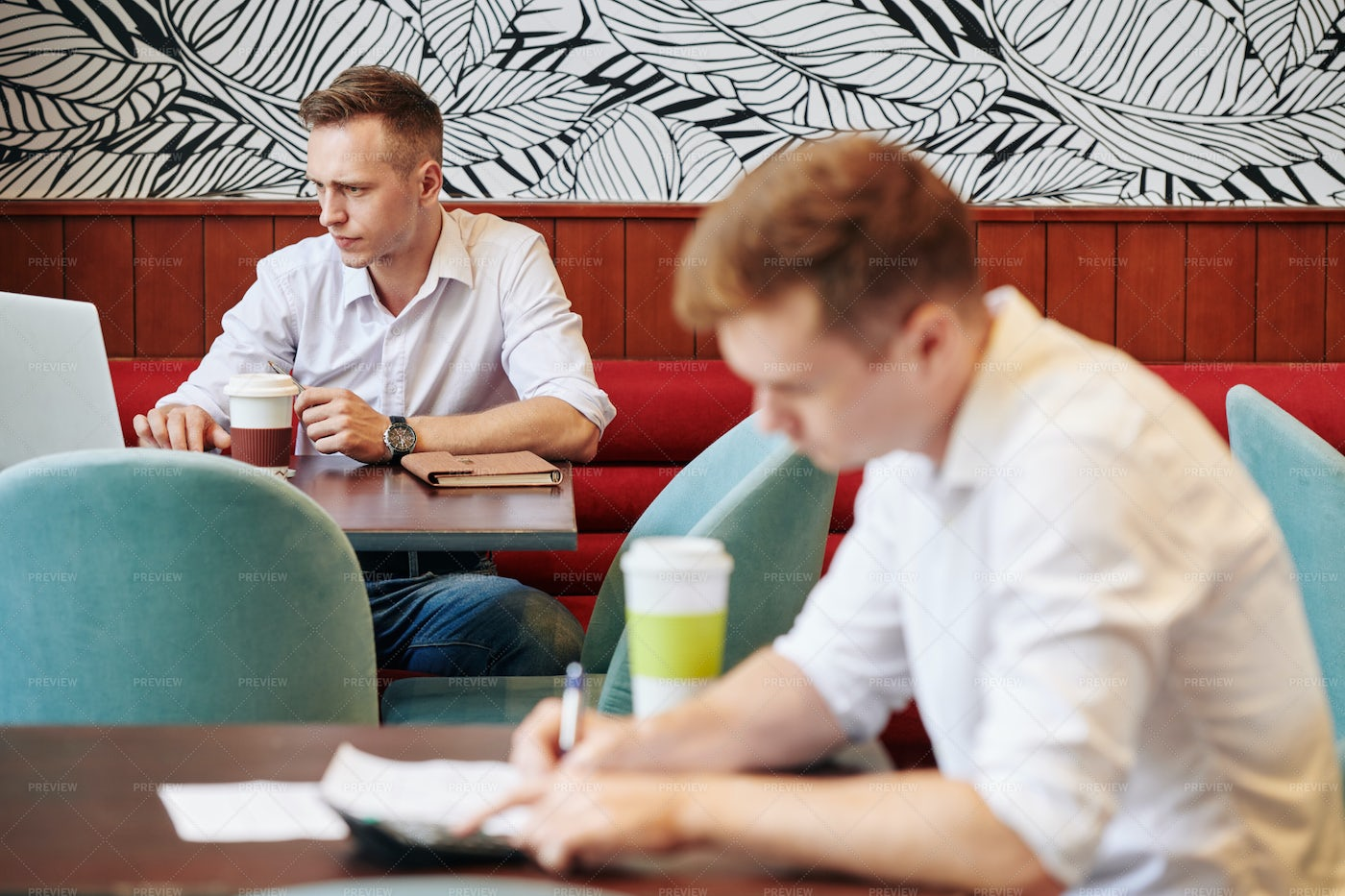 Freelancers Working In Cafe: Stock Photos