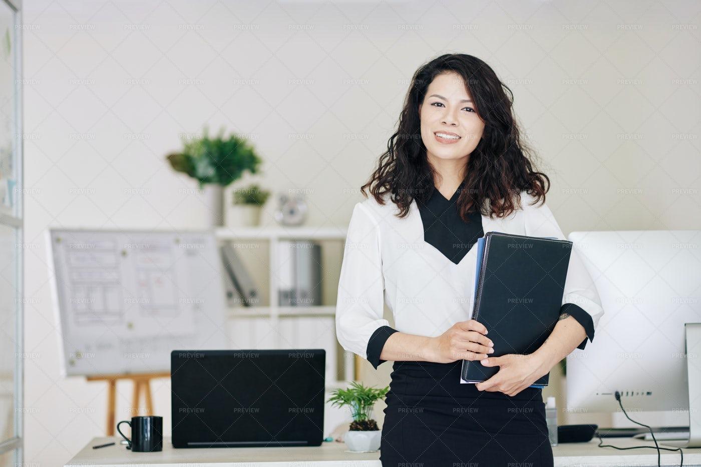 Entrepreneur With Documents Folder: Stock Photos
