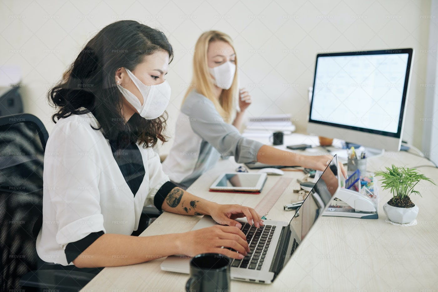 Workers With Face Masks: Stock Photos
