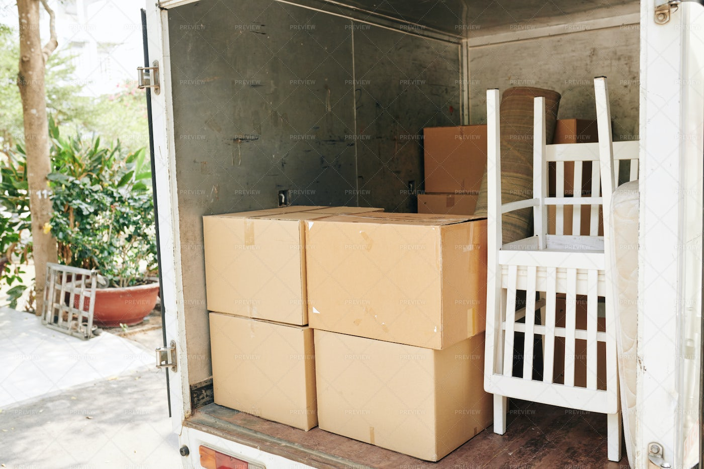 Truck Loaded With Furniture: Stock Photos