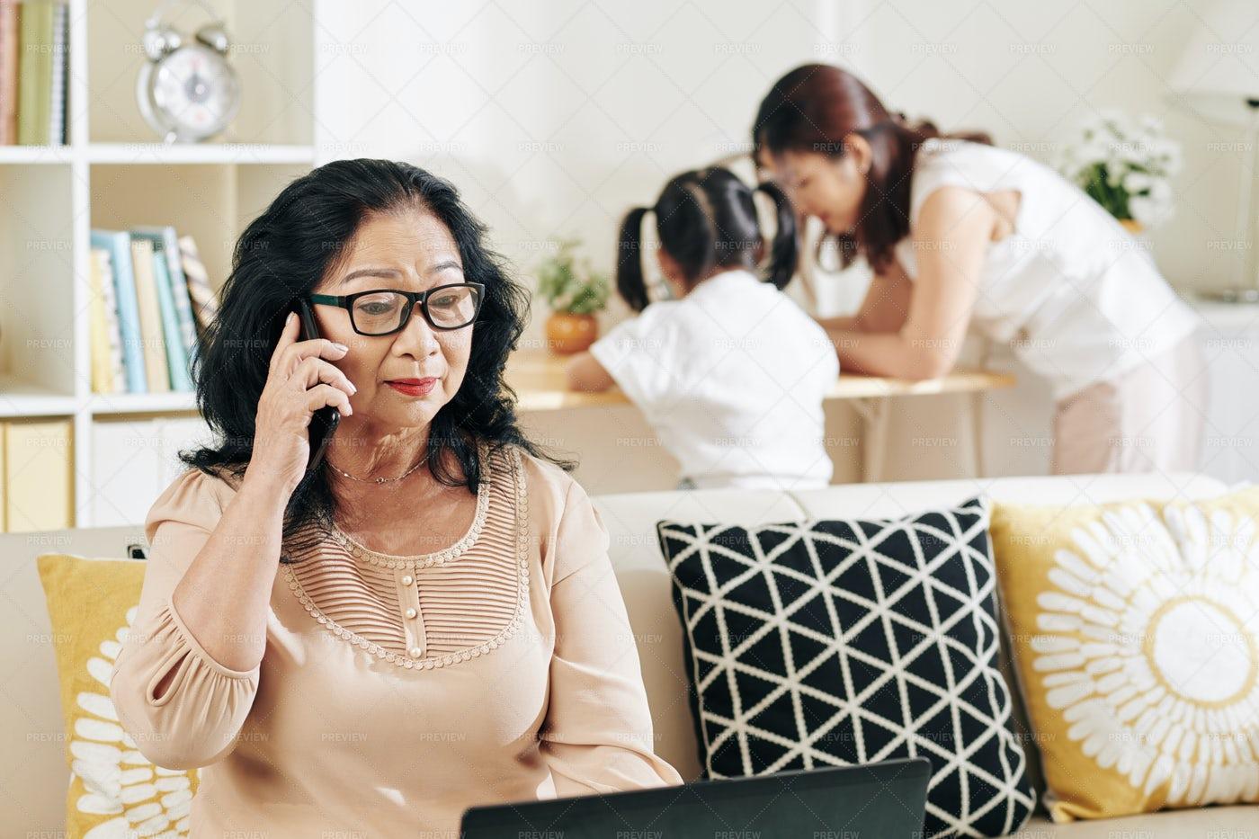 Senior Woman Talking On The Phone: Stock Photos