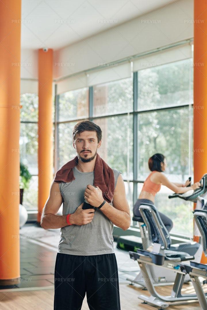 Serious Sportsman In Gym: Stock Photos