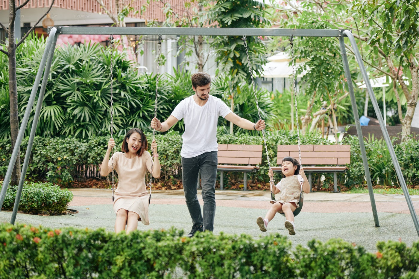 Family Spending Time In Park: Stock Photos