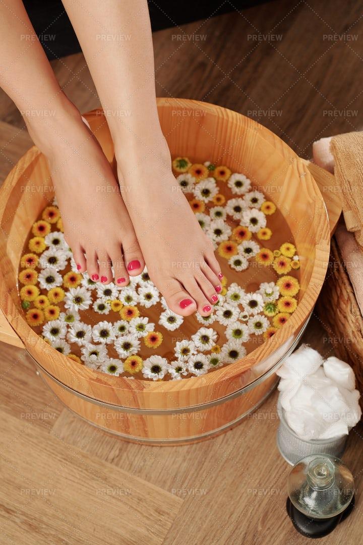 Soaking Feet Before Massage: Stock Photos