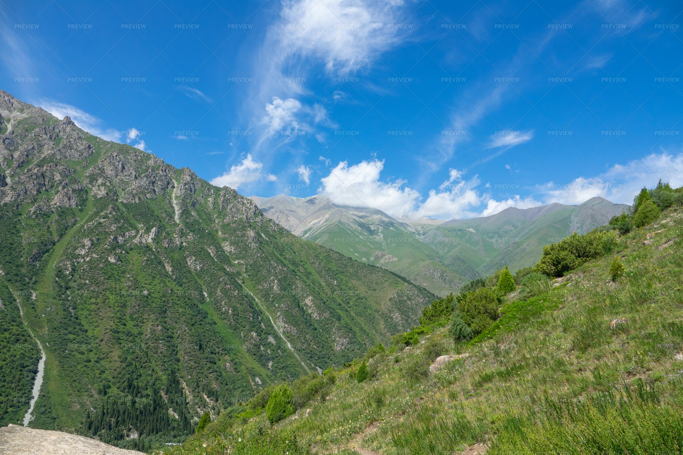 Beautiful Mountain Landscape In Summer: Stock Photos