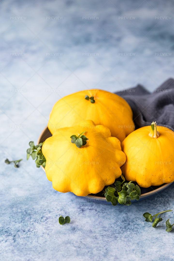 Yellow Patissons Or Squash: Stock Photos
