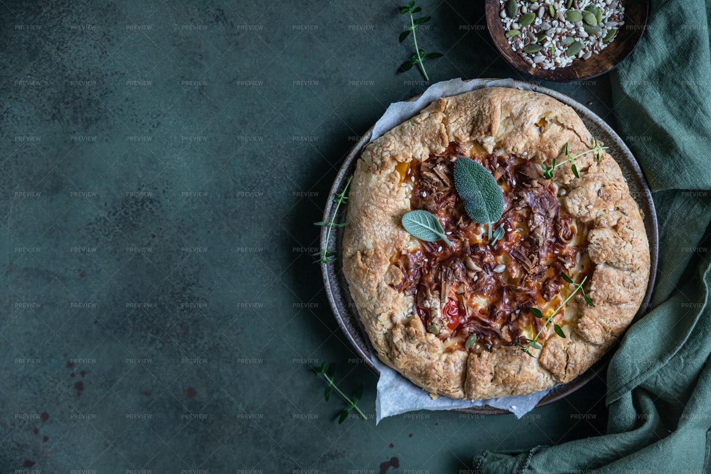 Savory Tomato Tart: Stock Photos