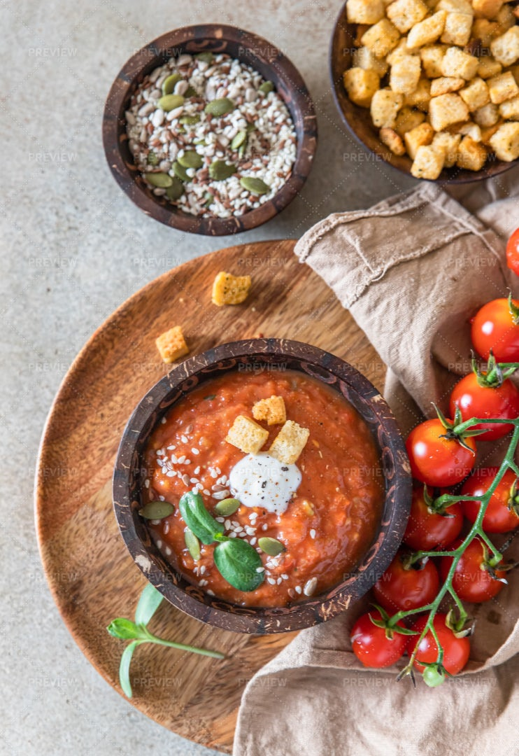 Wooden Bowl With Tomato Soup: Stock Photos