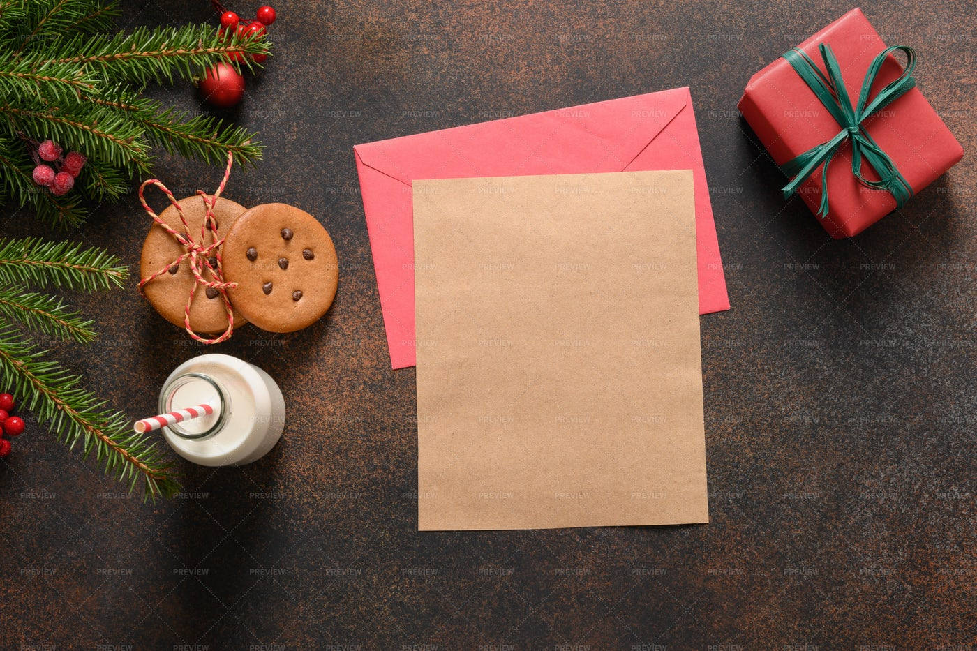 Cookies And Santa For Letter: Stock Photos