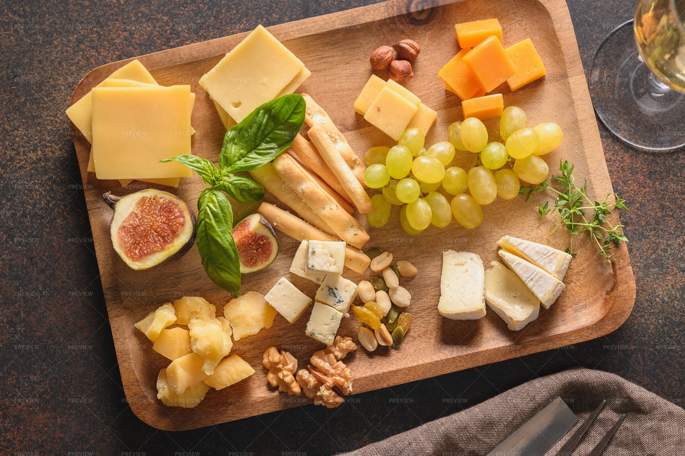 Cheese And Fruits Platter: Stock Photos