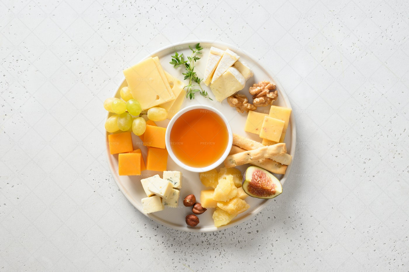 Cheese Platter With Grapes: Stock Photos